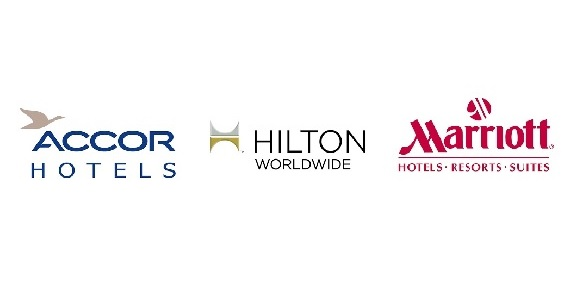 logotypy Accor, Hilton i Marriott